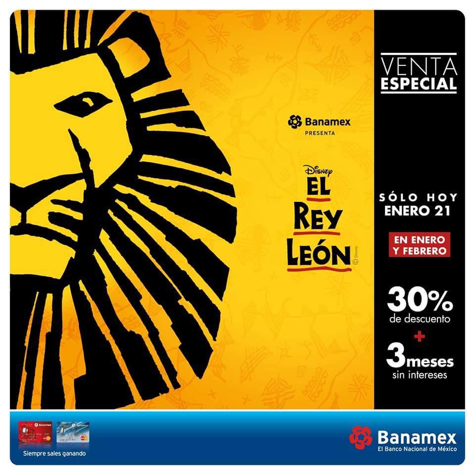 Ticketmaster Venta Especial: El Rey León 30% de Descuento con Banamex