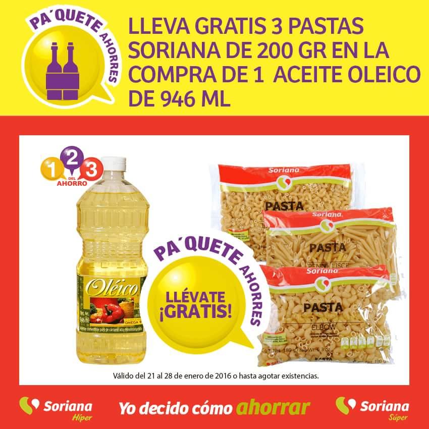 Soriana: 3 pastas Soriana de 200 gr Gratis en la compra de un aceite Oleico de 946 ml