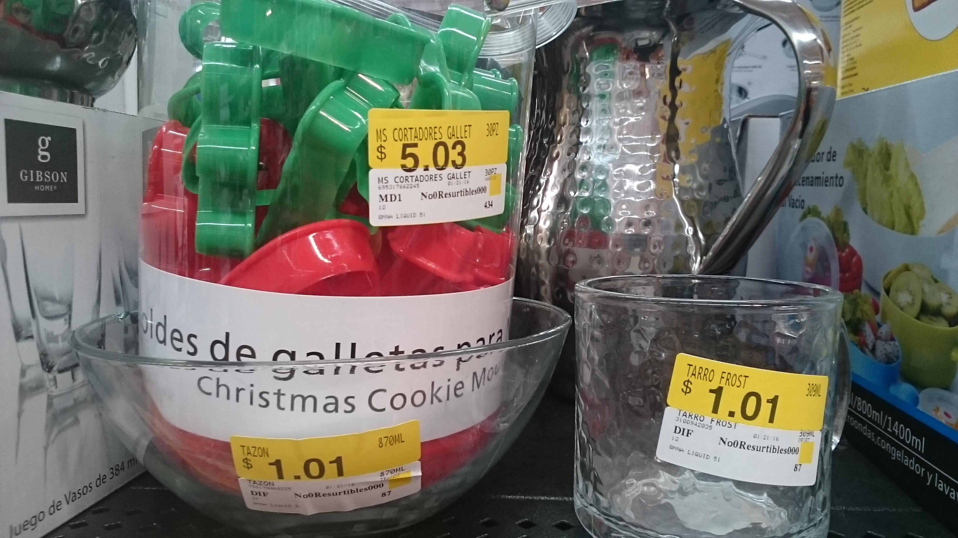 Walmart Jiutepec :Moldes galletas, tazón,  taza vidrio y juguetes