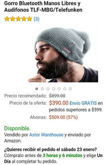 Amazon: Gorro Bluetooth audifonos y manos libres $390.00