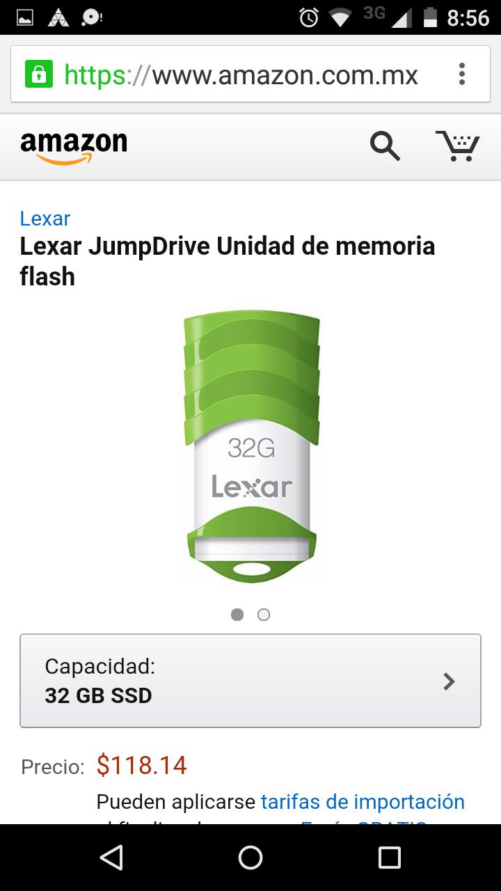 Amazon: Memoria USB lexar de 32GB a $126