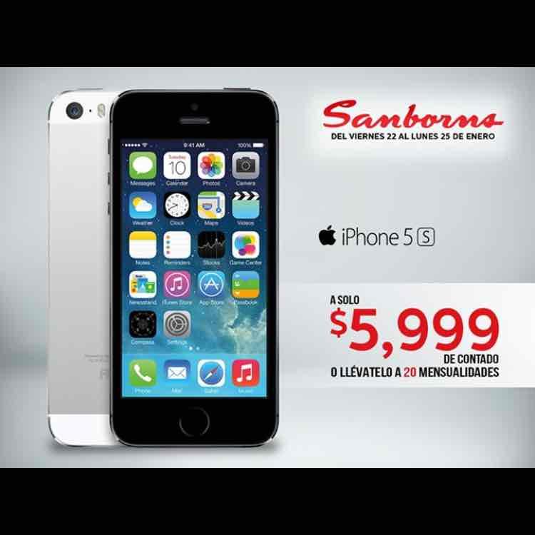 Sanborns: iPhone 5s de 16GB a $5,999