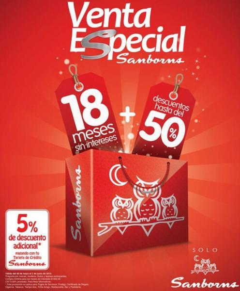 Venta Especial Sanborns del 30 de mayo al 2 de junio