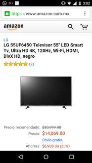 "Amazon MX: LG 55UF6450 Televisor 55"" LED Smart Tv, Ultra HD 4K, 120Hz"