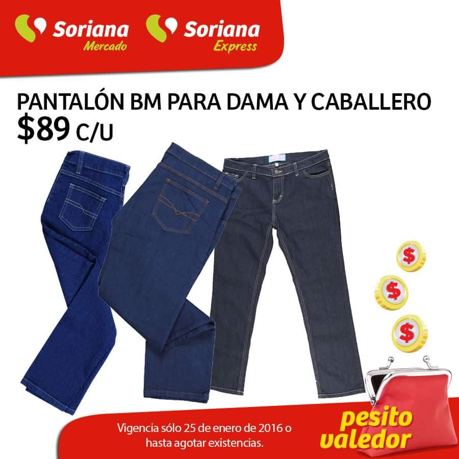 Soriana: Pantalones para dama y caballero BM a $89