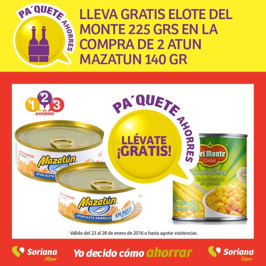 Soriana: Elote del Monte 225 grs Gratis en la compra de 2 atun Mazatun 140 gr