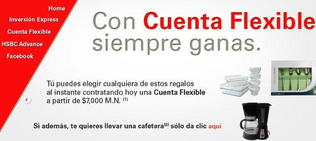 HSBC: cafetera y refractarios o cubiertos gratis abriendo Cuenta Flexible