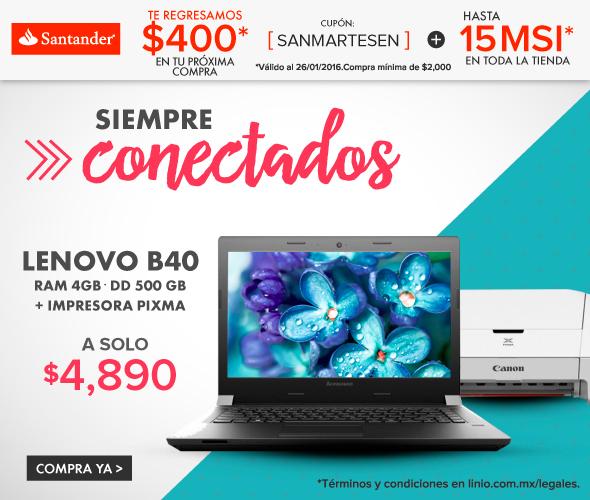 Linio: Laptop LENOVO B40 AMD WIND 8.1 4GB RAM 500GB DD 14''-NEGRO + Impresora  PIXMA a $4890