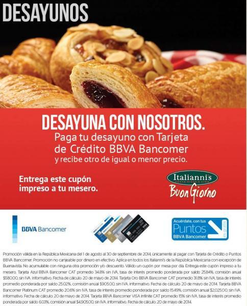 Italianni's: 2x1 en desayunos con Bancomer