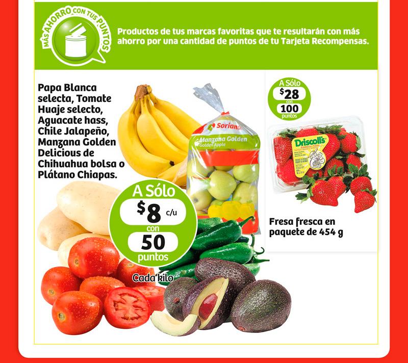 Ofertas de Frutas y Verduras en Soriana 26 y 27 de Enero