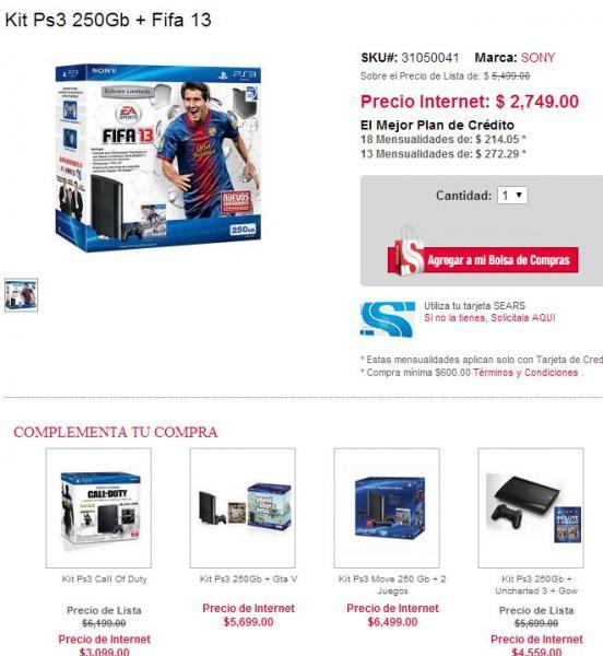 Sears: PS3 250GB + FIFA 13 $2,749 y PS3 + COD MW3 y COD BO $3,099