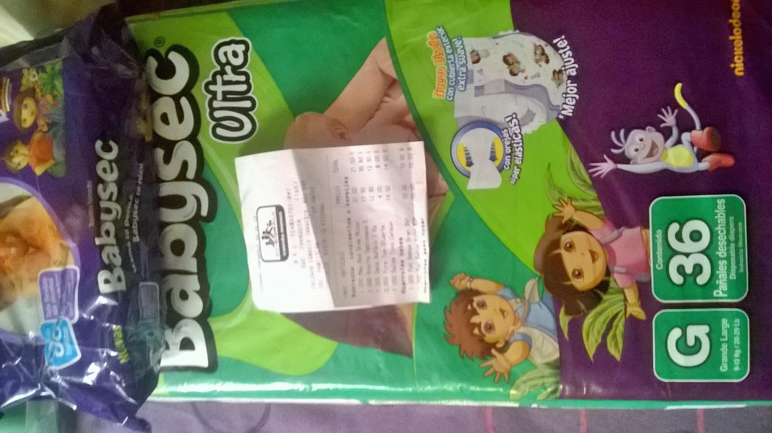 Chedraui Zaragoza D,F: 36 pañales Babysec + toallitas