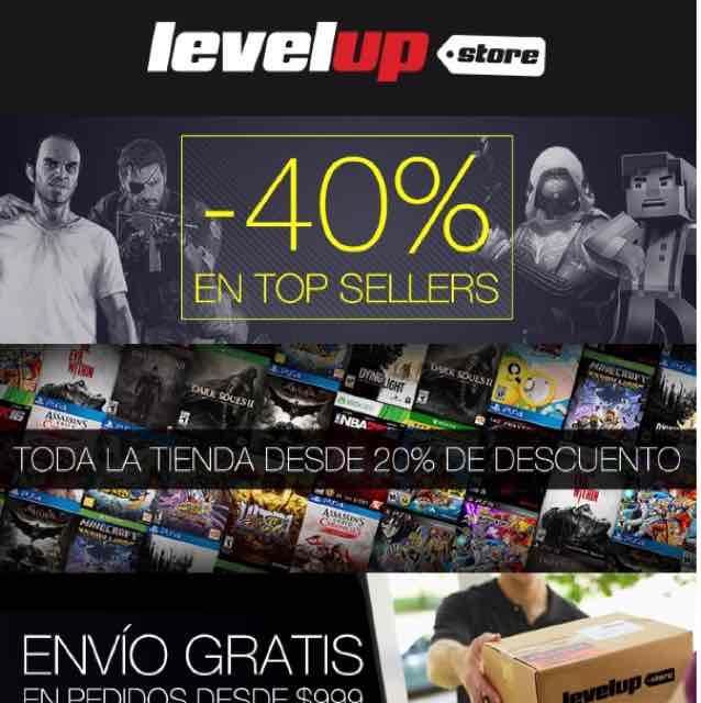 LevelUp Store: Top Sellers -40% y toda la tienda con 20% de descuento