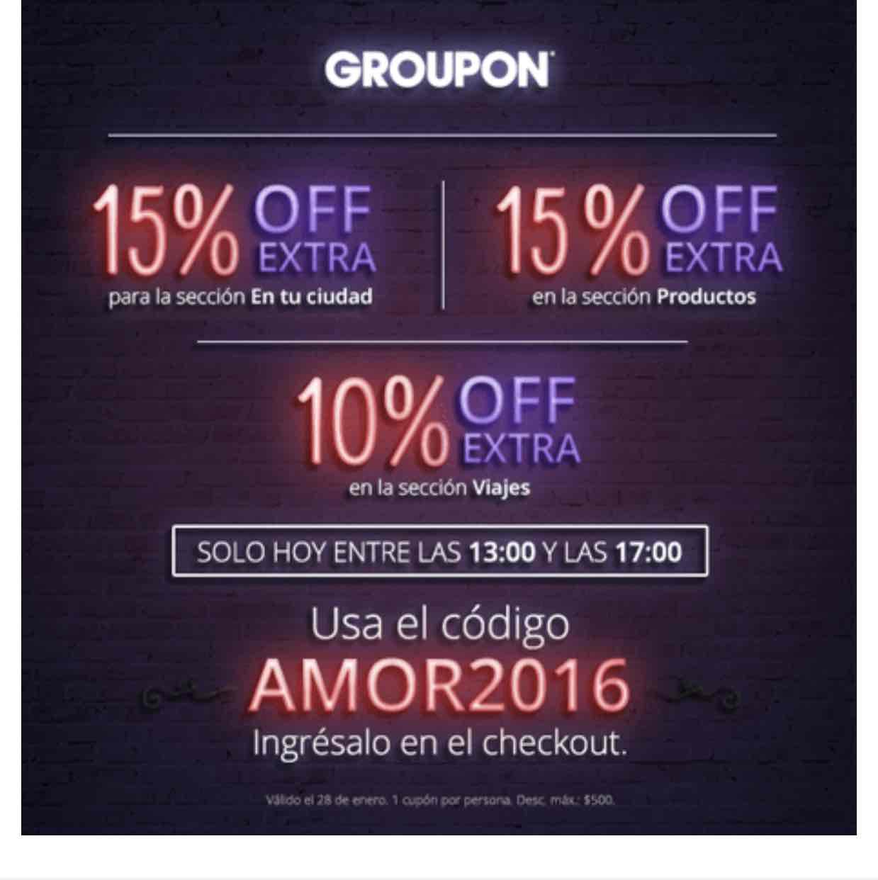 Groupon 15% en groupones de tu ciudad y viajes - Codigo AMOR2016