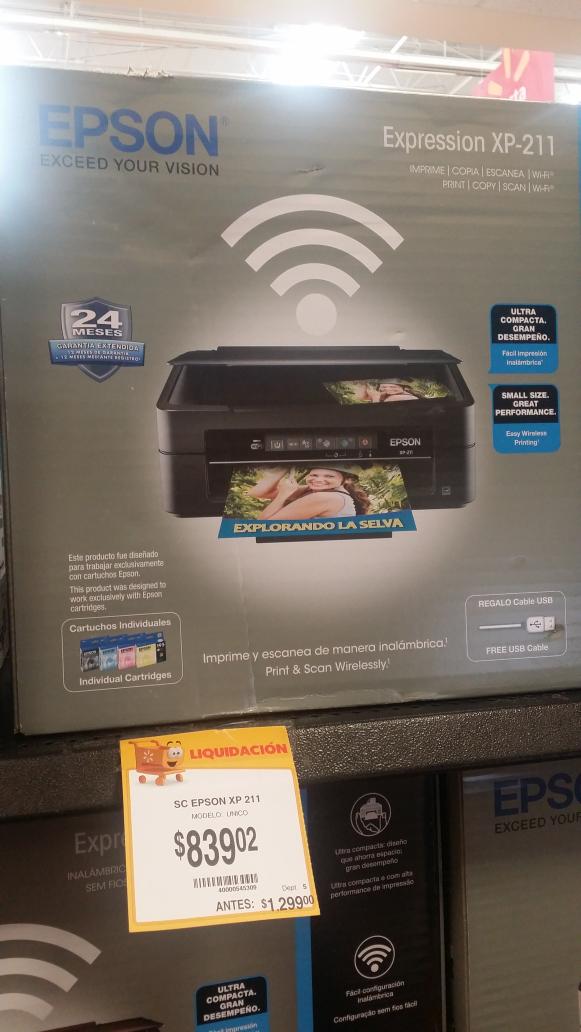 Walmart: Multifuncional wifi Epson XP-211 $839.02