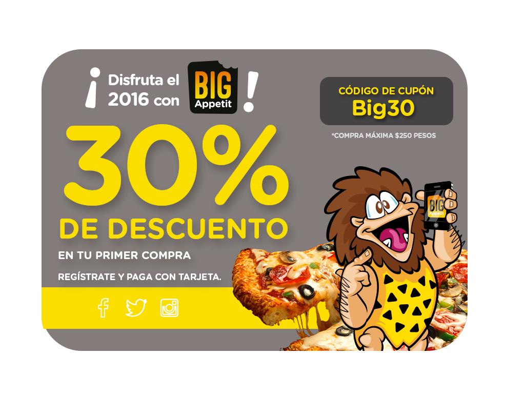 Big Appetit:  30% en tu primer pedido. Cupón Big30