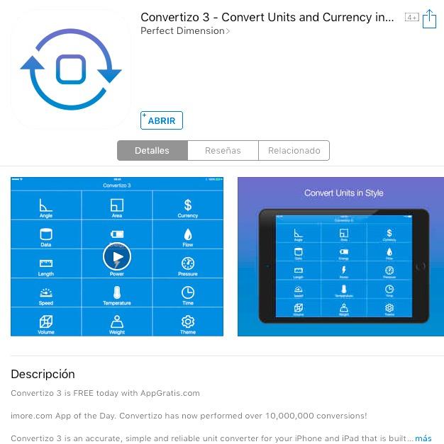 """Oferta en App Store: App especializada en conversiones """"Convertizo 3"""" totalmente gratis"""