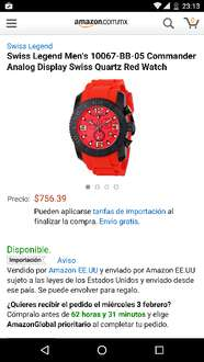 Amazon: Swiss Legend Men's 10067-BB-05 Commander Analog Display Swiss Quartz Red
