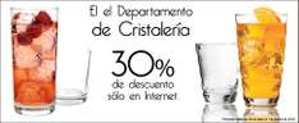 Sears: 30% de descuento en dpto. de Cristalería
