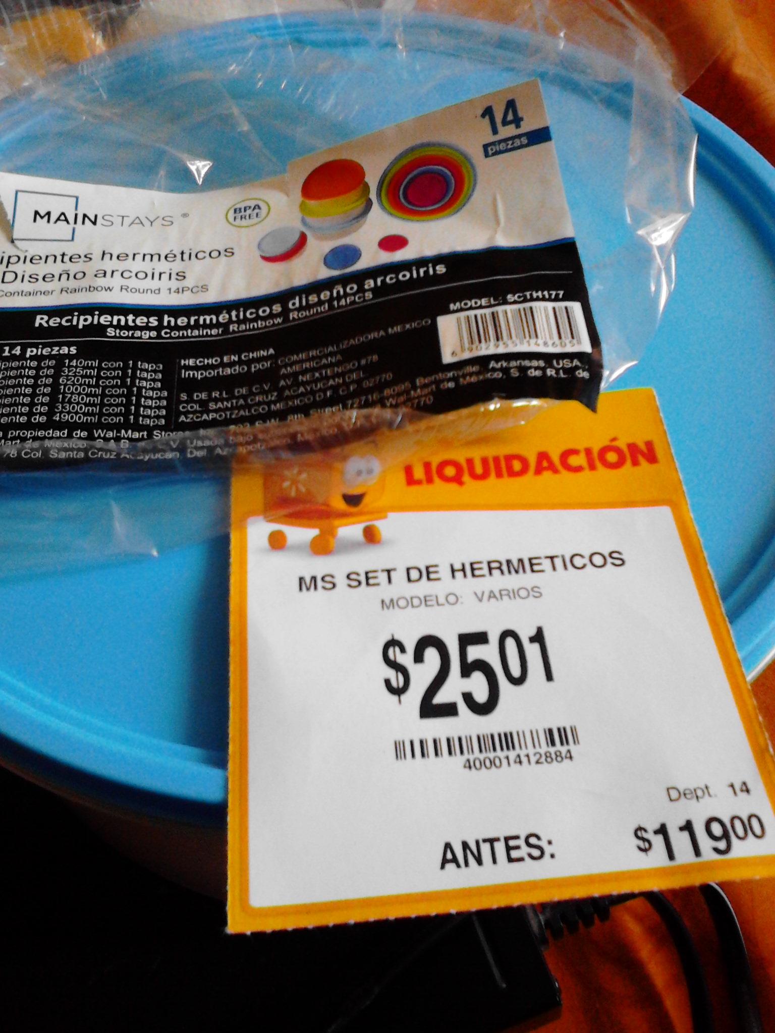 Walmart la Cañada: Set herméticos 14 piezas $25.01