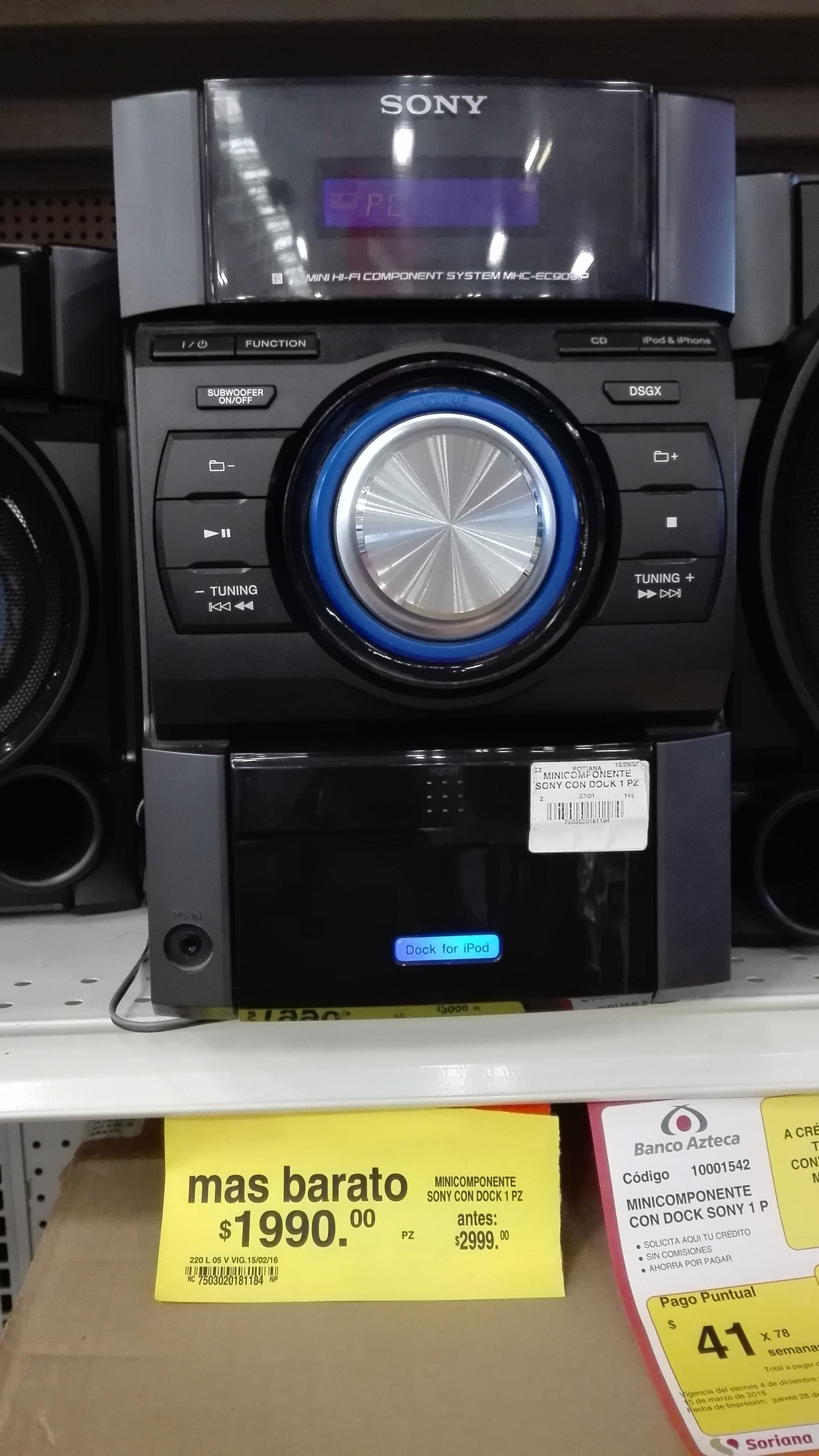 Soriana orizaba,ver...Mínicomponente sony con dock Para iPhone & ipod, precio normal $2999