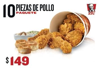 Urbancheck & KFC: 10 Piezas de pollo + 3 Bisquets + Pures y Ensalada Familiares $149