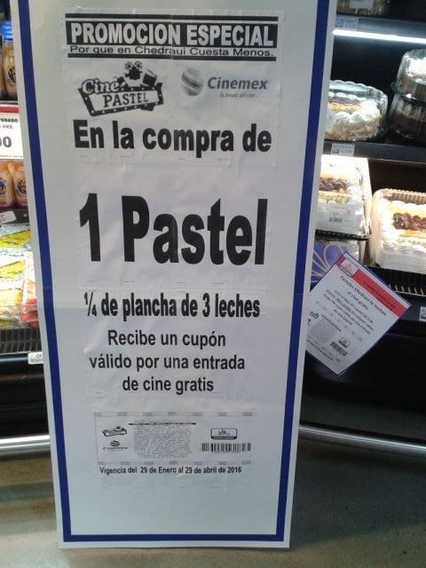 Chedraui: Boleto gratis para Cinemex en la compra de pastel de plancha.