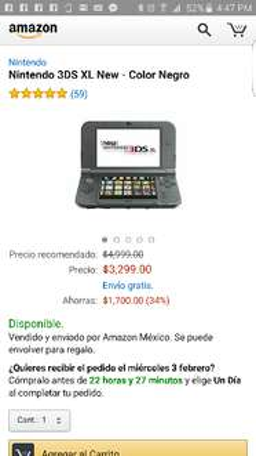 AMAZON: New Nintendo 3DS XL negro a $3,299 ($2,969 pagando con Visa)