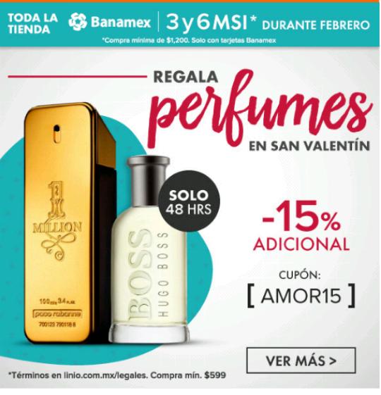 Linio: Descuento del 15% adicional en perfumes con cupón