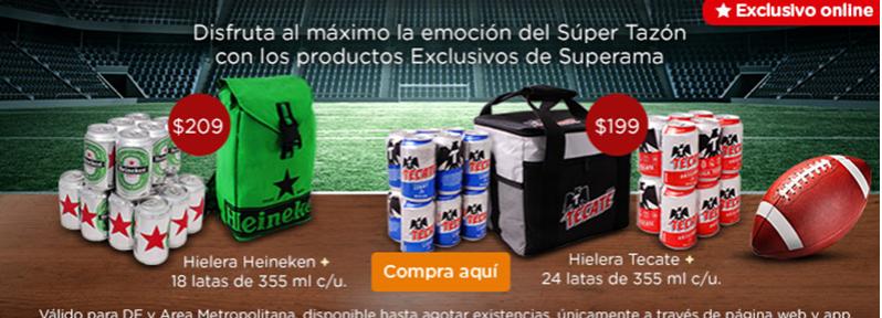 Superama Online y APP: 24 latas de Tecate+Hielera $199 y 18 Heineken+Hielera $209