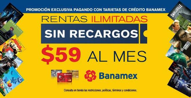 Blockbuster: rentas ilimitadas sin recargos $59 al mes con Banamex