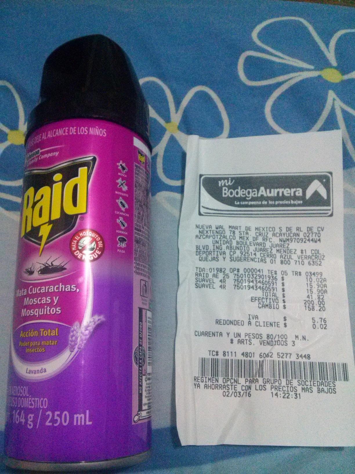 Bodega Aurrerá: Insecticida en aerosol Raid $10.02
