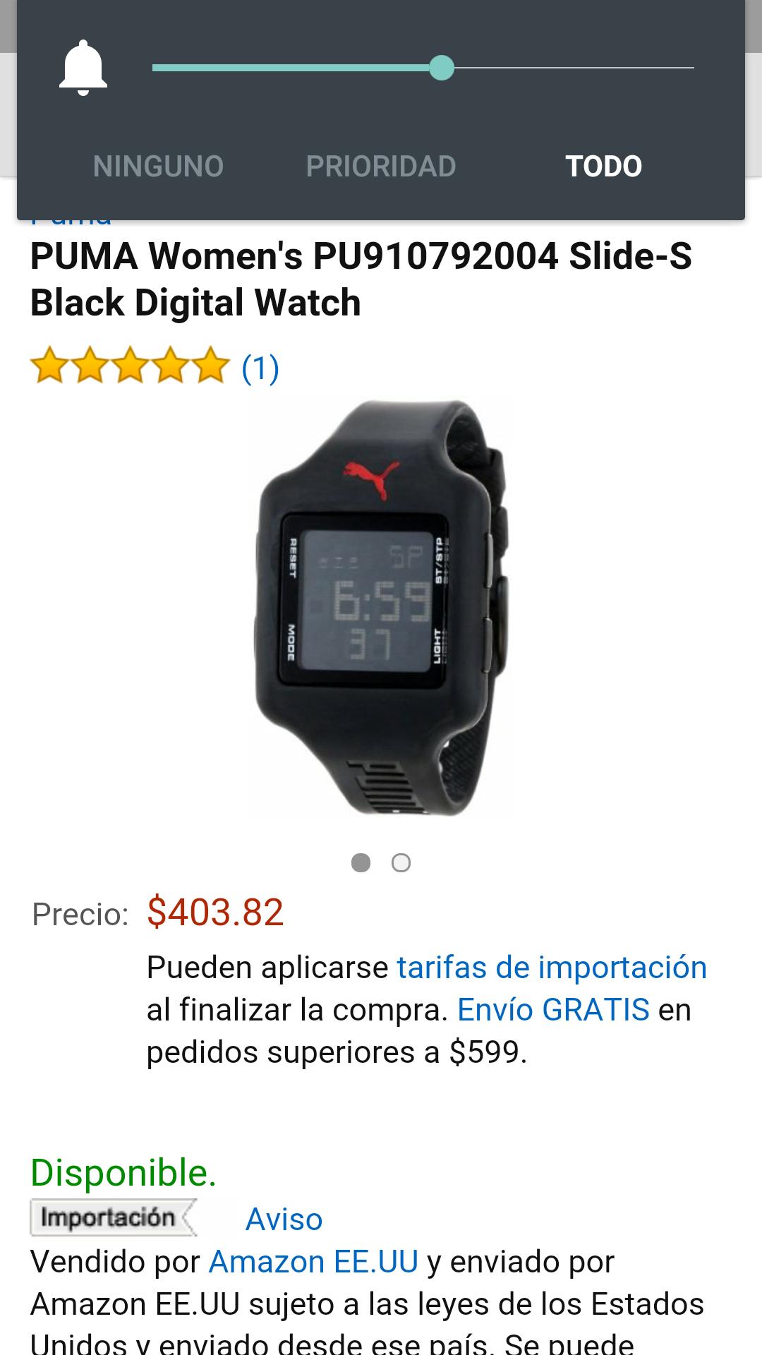 Amazon: Reloj puma para dama PU910792004 372 $3