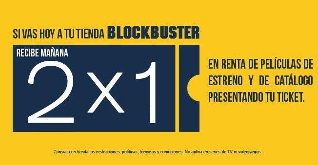 Blockbuster: rentas al 2x1 mañana si compras o rentas hoy