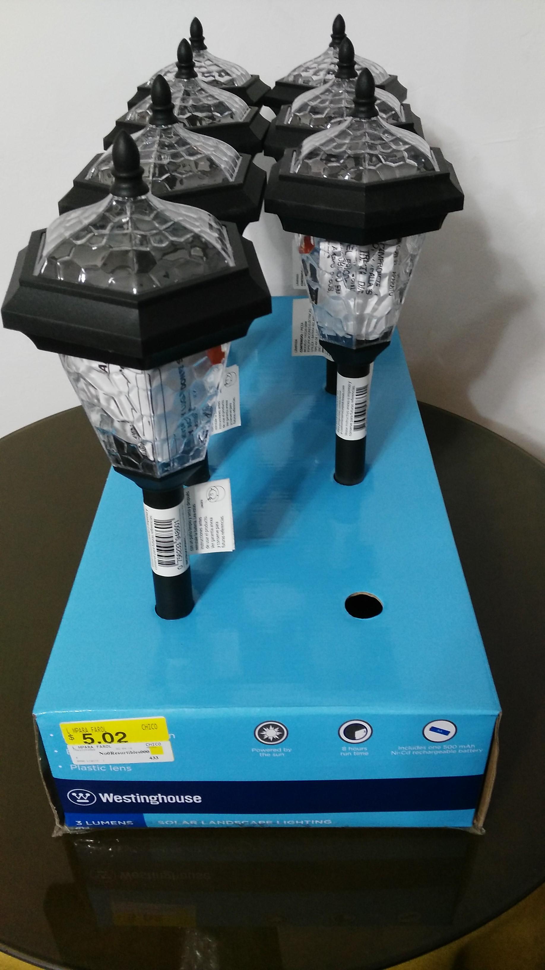 Walmart Arboledas: lámpara farol solar a $5.02