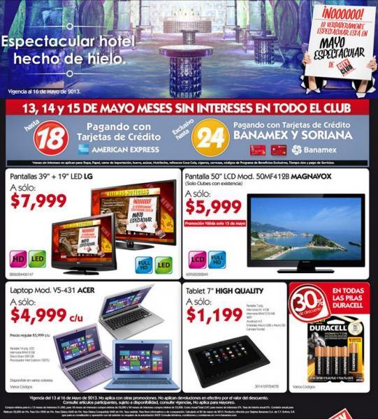 """City Club: pantalla LCD 50"""" $5,999, 2 por 1 y medio en leche y más"""