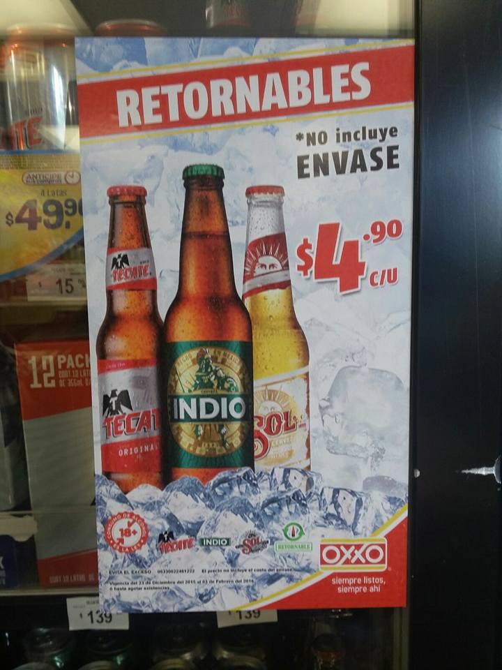 Oxxo: cerveza 355ml Indio, Tecate y Sol a $4.90 c/u