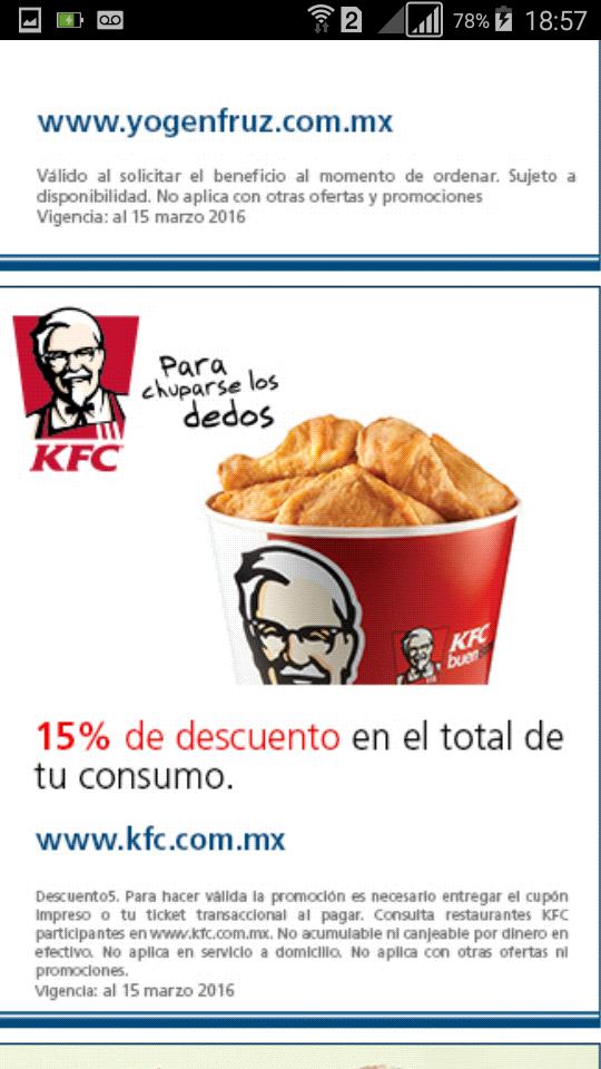 15% de descuento en KFC y más al pagar con tarjeta de banco azteca guardadito