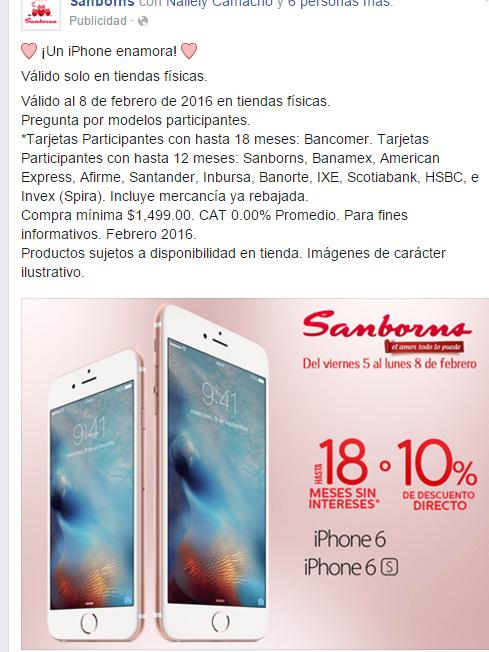 Sanborns: 18 MSI o 10% de descuento en iPhone 6 ó 6S en tiendas fisicas