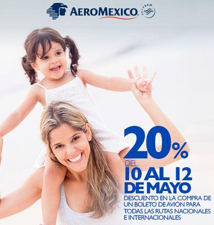 Aeroméxico: 20% de descuento en todas las rutas