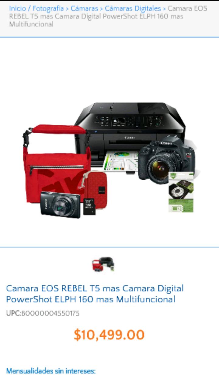 Walmart online: Kit fotográfico Canon (Reflex EOS Rebel T5, Digital Powershot, Impresora multifuncional y más)