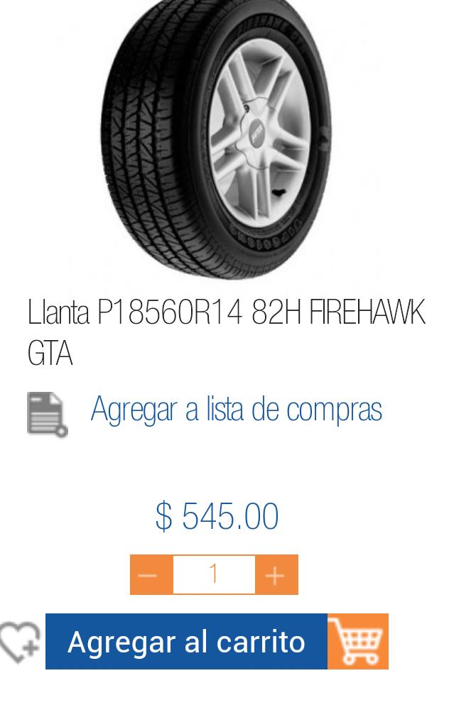 Chedraui en línea: Llanta Firestone Firehawk GTA 185/60 R14 a $545