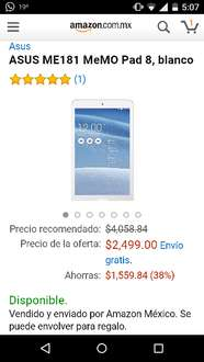 Amazon: Tablet ASUS ME181 MeMO Pad 8 a $2,499 ($2,249 con VISA)