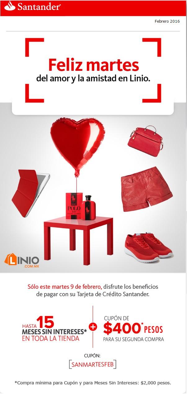 Linio: 15 msi + cupón de $400 de cashback en compra mínima de $2,000 con Santander