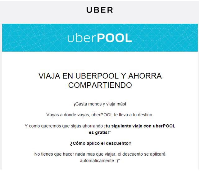 Uber: te regala un viaje gratis en su Uberpool, para quienes contesten su encuesta sobre Uberpool.