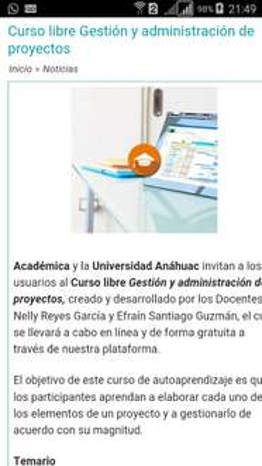 """ACADÉMICA y universidad anahuac : curso gratis '' GESTION Y ADMINISTRACION DE PROYECTOS """""""
