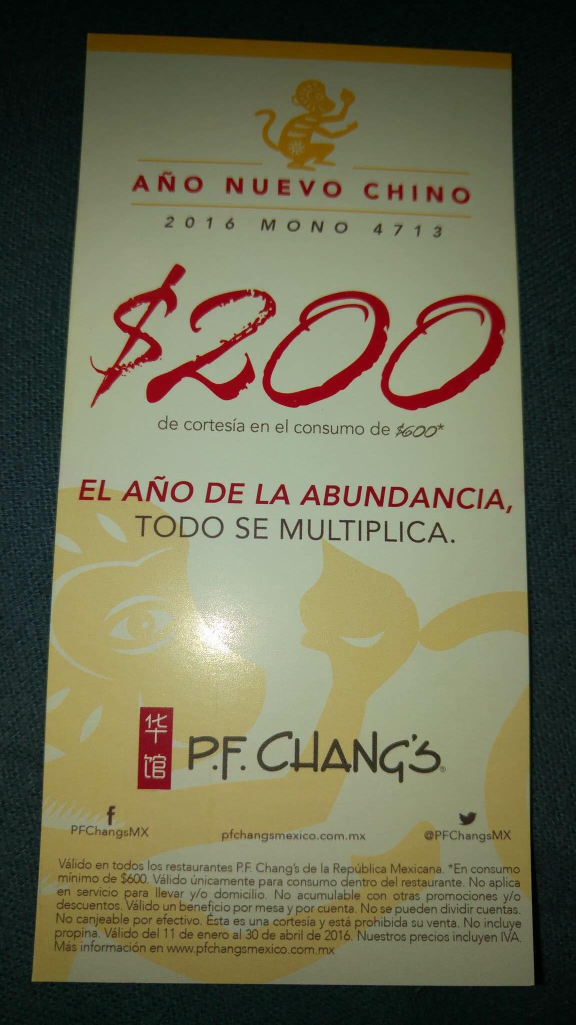 P.F. Chang's: $200 de descuento en consumo mínimo de $600 con cupón