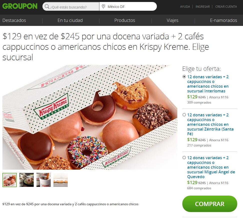 Groupon: Krispy Kreme 12 donas surtidas + 2 cappuccinos $129 (3 sucursales en DF)