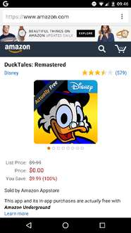 DuckTales: Remastered GRATIS para android, antes 10$ dlls, desde Amazon Underground