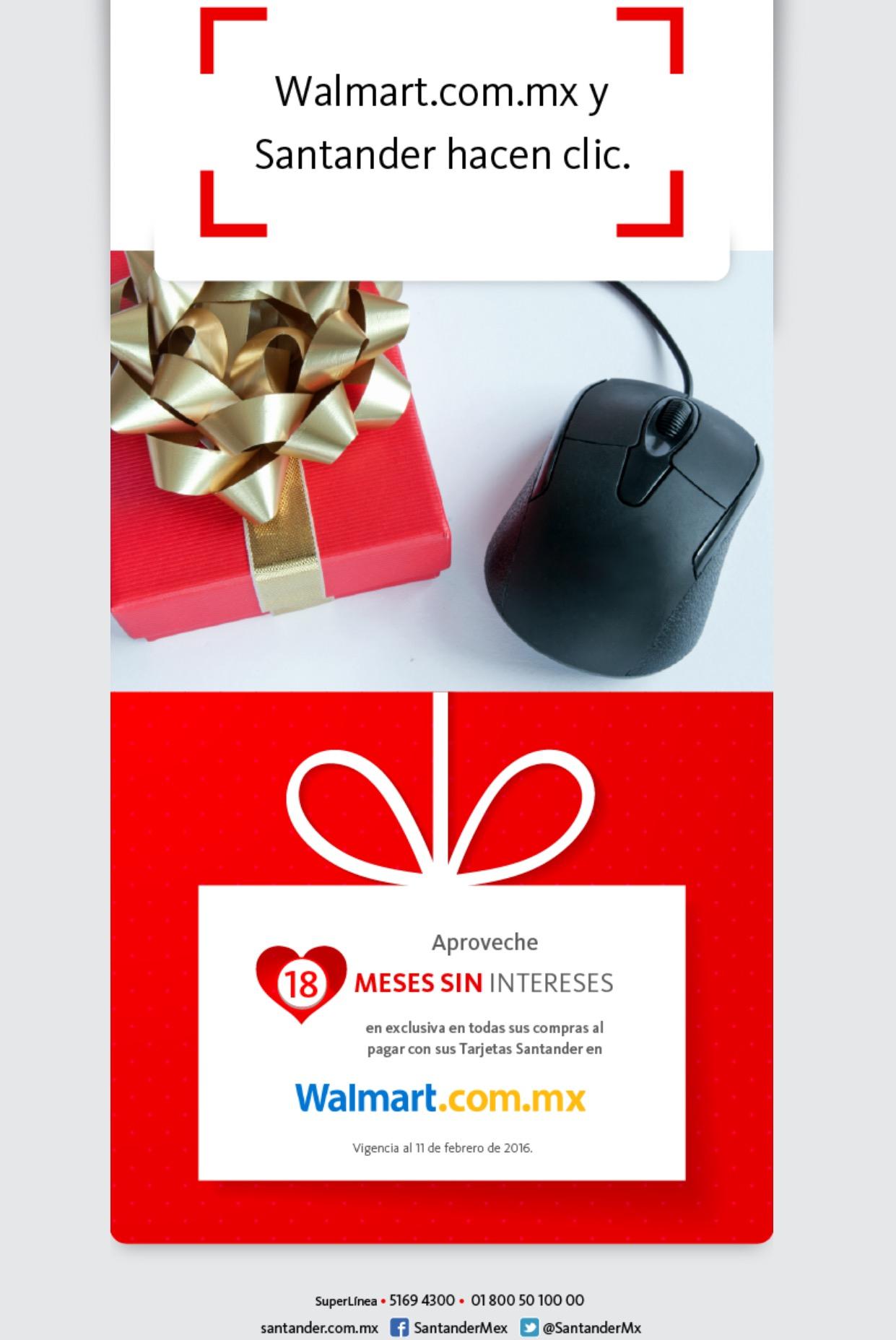 Walmart en línea: 18 meses sin intereses con tarjetas de crédito Santander